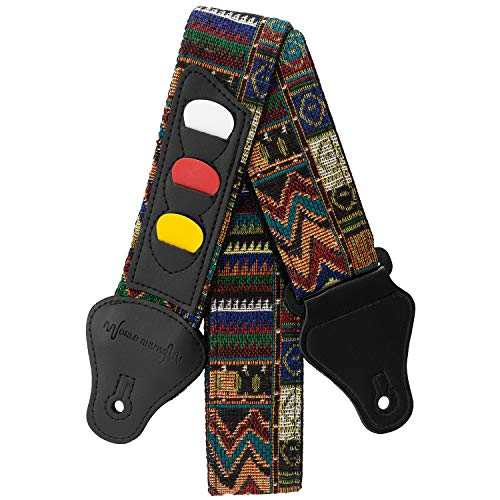 World Rhythm Correa de guitarra de algodón bordada para guitarras eléctricas, acústicas, clásicas y bajos, con soporte para púas (WR-214), Multicolor (Aztec)