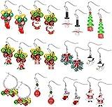 CASSIECA 12 Paia Orecchini Pendenti di Natale per Donna Ragazze Orecchini di Campana di Natale Xmas Orecchini Pendenti Set Gioielli di Vacanza Regali Bomboniere di Natale