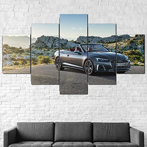 AWER Imprimir Lienzo de Pintura Coche S5 Cabriolet TFSI 2020 Imágenes Póster Impresión En Hd Estilo Abstracto Cuadro decoración Estilo Piasaje Regalo marco de madera 5 Piezas