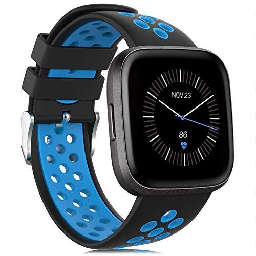 Onedream Kompatibel für Fitbit Versa Armband/Versa 2 Armband, Silikon Sport Ersatzarmband Zubehör Damen Herren Kompatibel für Fitbit Versa/Versa 2/ Versa Lite/Versa Special Edition Schwarz-Blau