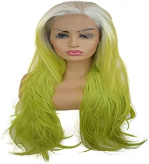 Fashian Green Multi-Layered Women's Natural Body Wave Hair Synthetic Lace Front Wig Heat Resistant for Women DIY Fun (Color : Green)