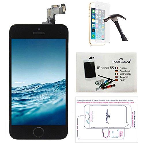Trop Saint Pantalla Negro para iPhone 5S - Kit de reparación LCD Completo - con Guía 5 lenguas, Superficie de Trabajo magnética, Herramientas y Vidrio Templado