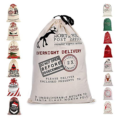 fannybuy Santa Sack Personalized Bags Large Drawstring Canvas Burlap Bag Blank Delivery Red/Green Extra Large Size 27.5
