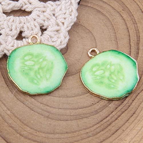 LLBBSS 10 Piezas Esmalte Sandía Tomate Kiwi Fresa Pepino Naranja Pomelo Encantos Pulsera Colgantes Pendiente Fabricación