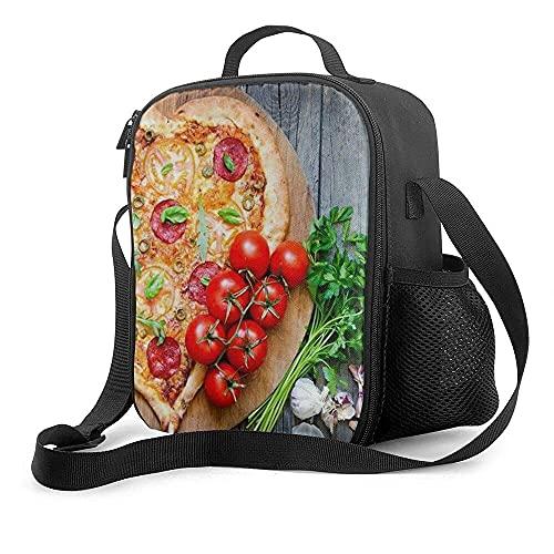 Bolsa de almuerzo aislada Pizza Corazón Tomate Restaurante Comida Correa para el hombro Almuerzo Tote Comida Resistente al agua Enfriador térmico