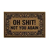 J&L House Vintage Entrance Doormats Non Slip Funny Oh Shit Not You Again Home Decoration Door Mat Indoor Outdoor Kitchen MachineWashable Rugs Multi-Functional Mats,18 x 30 Inch