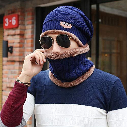 StAuoPK Heren- en Vrouwenherfst en Winter Wollen Hoeden, Kostuum Suit Oorbeschermers En Fluwelen Warme Pullover Gebreide Hoed (2 Stks)
