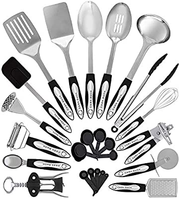 Home Hero Stainless Steel Kitchen Cooking Utensils - 25 Piece Utensil Set - Nonstick Kitchen Utensils Cookware Set with Spatula - Best Kitchen Gadgets Kitchen Tool Set by Home Hero