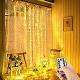 Swonuk Luz Cadena, 300 LED Luz de Cortina USB Luces de Navidad con 8 Modos de Parpadeo y Temporizador para Decoración Ventana,Iinteriores, Navidad,Fiestas,3 * 3m (Blanco cálido)