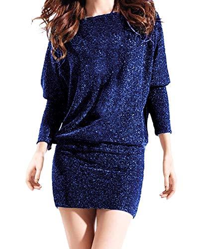 Auxo Damska sukienka z odsłoniętymi ramionami, z krótkim rękawem, sukienka balowa, cekinowa, do klubu, krótka sukienka mini