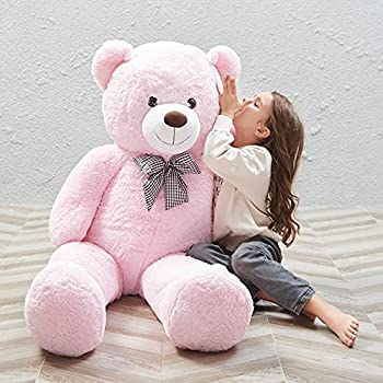 MorisMos Giant Teddy Bear Stuffed Animals Plush Toy for Girlfriend Kids  Pink 47 Inches