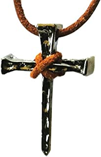 Nail Cross Necklace Christian Pendant Jewelry on Leather Cord