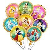globos de princesa, 16 piezas Globo de princesa, globos de papel de aluminio, globos de fiesta de cumpleaños, suministros de decoración para fiestas de cumpleaños