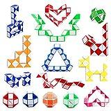16 Pack 24 Blocks Magic Snake Cube, Mini Plastic Puzzle Cube, Fidget Toys ,Mini Snake Speed Cubes for Kids Party Bag Filler, Random Colors, Party Supplies, Puzzle Favors