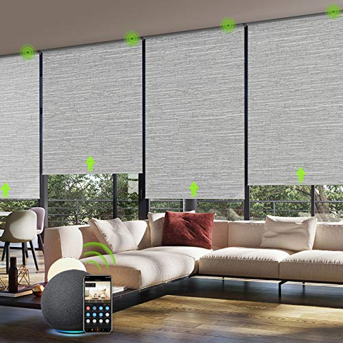 Yoolax Motorized Smart Blind for Window with Remote Control, Automatic Blackout Roller Shade Compatible with Alexa, Child Safety Rechargeable Battery Blind with Valance (Foggy Grey)