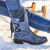 Rendeyuan Invierno al Aire Libre Botas con Cordones en la Espalda cálida Protección contra la Nieve de Invierno Botas cálidas Cultura Gruesa Botas cálidas con Cordones - Azul - 38