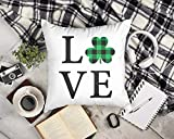 DKISEE Square Canvas Pillowcase 22 Inch Soft Cushion Cover St. Patrick's Day Shamrock Love Shamrock Pillow St. Patrick's Day Pillow Love Pillow Shamrock Love Pillow Cover