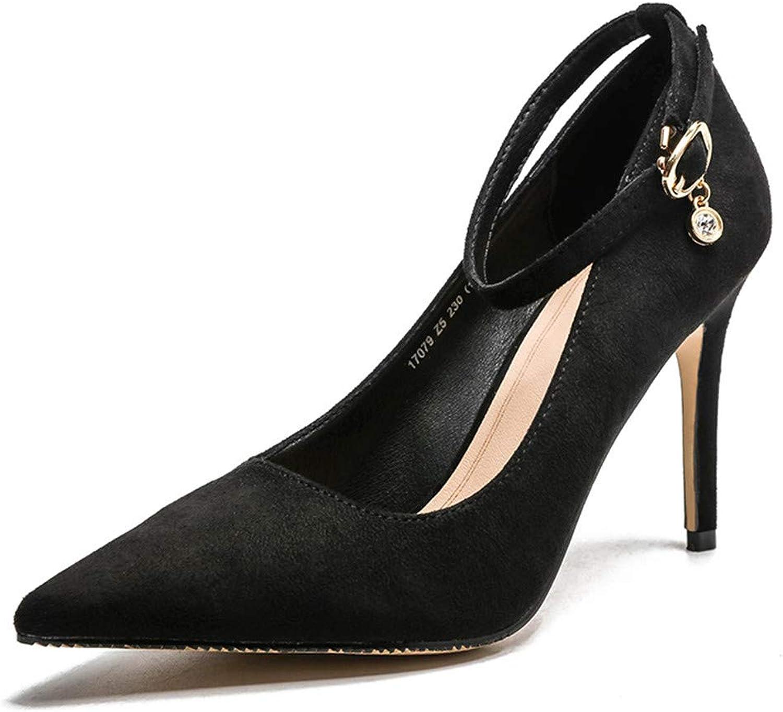 Meiren Pumps Shallow Mouth Single shoes Women Autumn High Heels Black