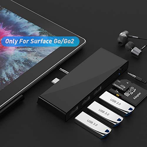Dock per Surface Go per Surface Go/Go 2 Docking station per hub con 3 porte USB 3.0 (5 Gps), audio, lettore di schede SD/TF (Micro SD) Combo Dock per Microsoft Surface Go
