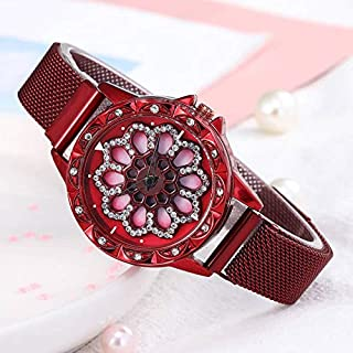 stylish women's watch with moving dial diamond loaded case stylish view