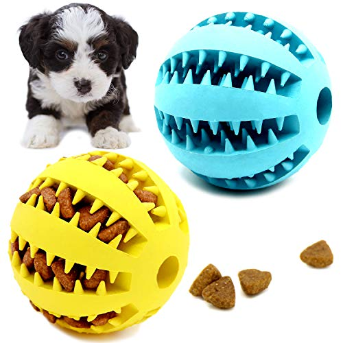Youngever 2 Pack Dog Ball Toys for Pet Tooth Cleaning, Chewing, Fetching, IQ Treat Ball Food Dispensing Toys (Small 2 inch)