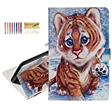 Dteck Wallet Case for Amazon Fire HD 8 Tablet (8th Generation 2018 & 7th Generation 2017 & 6th Generation 2016) - Synthetic Leather Protective Stand Lightweight Cover Case with Stylus (Cute Tiger)