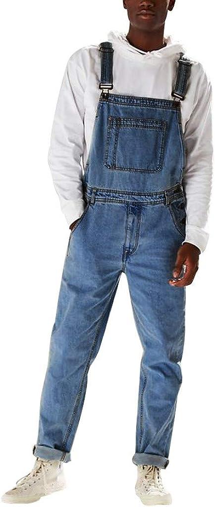 iCJJL 2019 Men's Washed-Denim Bib Overalls Fashion Slim Fit Distressed Dungaree Jumpsuit with Pockets