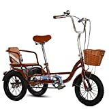 *XYSQ Tricicle Tricicle De Pedal per a Adults Majors, Marco D'Acer D'Alt Carboni, Pedal De Mobilitat Bicicleta Recreativa Que Porta Tricicle De Càrrega (Color : Brown-a)