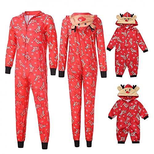 Matching Family Christmas Pajamas Set Reindeer Hoodie Pajamas Jumpsuit Romper Holiday Pjs One Piece Sleepwear Sets Red