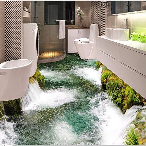Mddjj Benutzerdefinierte Bodenbelag Wandbild Tapete Fluss Wasserfall Wc Badezimmer Schlafzimmer 3D Boden Malerei Pvc Wasserdichte Aufkleber Wandpapierrolle-140X100Cm