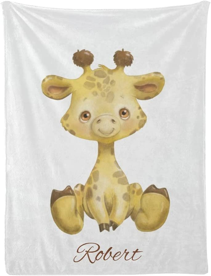 Worth The Wait Cute Giraffe Baby Albuquerque Mall Blankets with Cheap mail order specialty store Custom Name Girl
