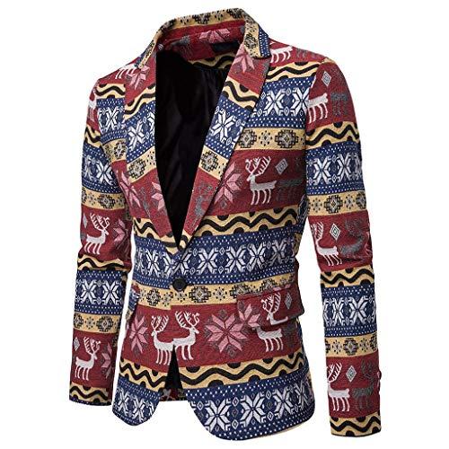MERICAL Regalo Creativo di Natale Uomo Western Fit Slim Fit Autunno Blazer Affari Elegante Inverno Abito da Uomo Giacca Casual Fashion Print Elk Skinny Blazer(Rosso,Medium)