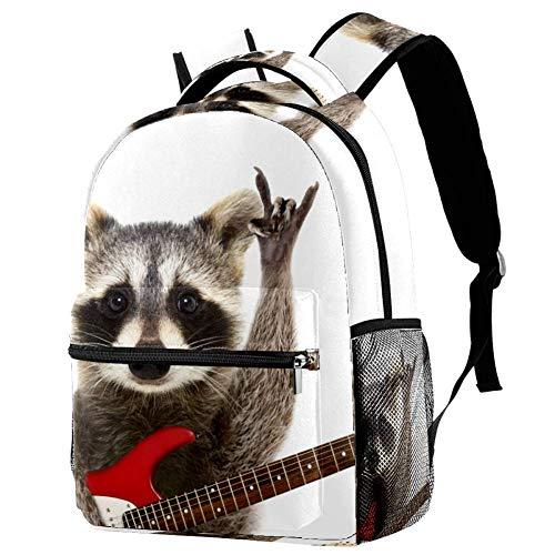 Rocking Racoon mit Gitarre Reise-Laptop-Rucksack, leger, strapazierfähiger Rucksack für Männer und Frauen, für Arbeit, Büro, Studenten, Geschäftsreisen, Schultasche, Büchertasche