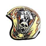 PURROMM Casco Moto Vintage Harley Mezzo Casco-Cranio Giallo Staccabile Eaves FRP caschi DOT Open-Face in Fibra di Vetro,L