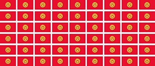Mini Aufkleber Set - Pack glatt - 20x12mm - Sticker - Kirgisistan - Flagge - Banner - Standarte fürs Auto, Büro, zu Hause & die Schule - 54 Stück