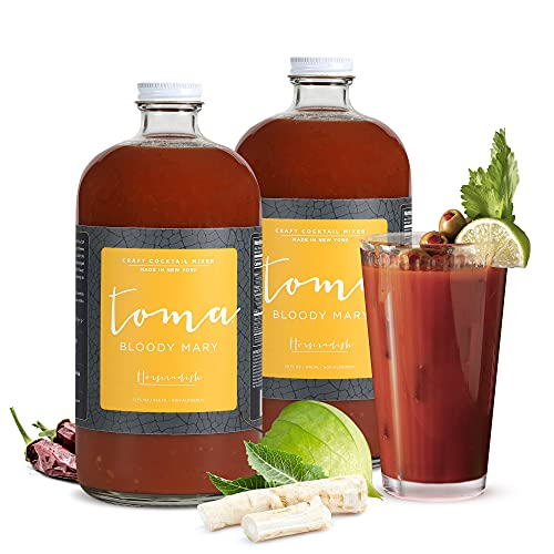 Bloody Mary Mix Horseradish, Gluten Free, Vegan, Low Carb, Keto Friendly, Low Sodium, Premium Cocktail Mixer, 32oz Bottle, Pack of 2 - Toma