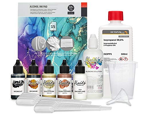 5 x 30 ml bläckfisk vätskor alkohol bläck komplett kit blumenkindjen med blandningslösning, alkoholbläck papper och tillbehör för alkoholbläck konst