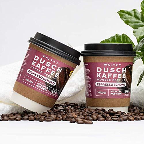 Waltz7 Duschkaffee Body Scrub, Körperpeeling mit Espresso Schoko Geschmack, Körperpflege mit echtem Kaffee und natürlichen Ölen, ÖKO Testnote SEHR GUT (Monatskur mit 4 Stück)