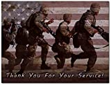 Thank You for Your Service Cards - USA - American Flag - Patriotic - Military - Blank on The Inside - Includes Cards and Envelopes - 5.5' x 4.25' (12 Pack)