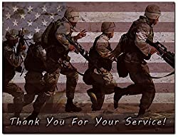 Image: Thank You for Your Service Cards - USA - American Flag - Patriotic - Military - Blank on The Inside - Includes Cards and Envelopes - 5.5 x 4.25 (24 Pack) | Brand: Max Emporium