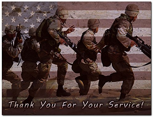 Thank You for Your Service Cards - USA - American Flag - Patriotic - Military - Blank on The Inside - Includes Cards and Envelopes - 5.5 x 4.25 (24 Pack)