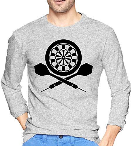 Darts Board Logo Herren Langarm T-Shirt Baumwollhemden mit Rundhalsausschnitt
