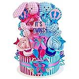 MomsStory – Tarta de pañales, gemelos, liebre, regalo para nacimiento, bautizo, 2 pisos, color rosa y azul, con babero de peluche