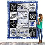 Lung Cancer Awareness Pearl White Ribbon Symbol Survivor Warrior Fighter Quilt Blanket Cancer Blanket Gift for Mom Mother - in This Family No One Fights Alone Blanket Mother's Day Blanket Gift