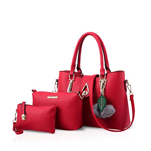 NICOLE&DORIS 3 PCS Tasche Handtasche Schulter Frauen Crossbody Totes Bote Weich PU Rotwein