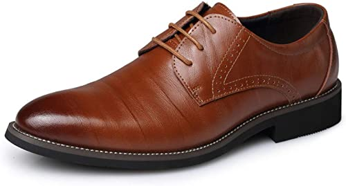 NAXIEHUAER Chaussure Homme Cuir Chaussures habillées Mode Pointu-Toe Lacets Mariage Orange 43