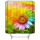 LAundNA Nature Floral Ornaments Wasserdichte Polyester-Stoff Badezimmer Duschvorhang mit Haken gesetzt , 2 , 180*180cm