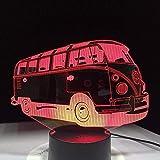 Ilusión 3D luz nocturna camping bus 7 colores luz nocturna luz usb iluminación para dormir niños juguetes para niños regalos