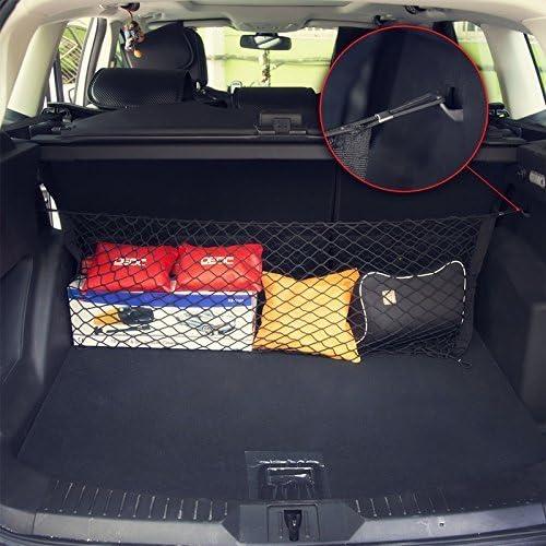 Dedc Auto Gepäcknetz Universal Kofferraumnetz Schutznetz Elastisch Kofferraum Aufbewahrung Netz Aus Nylon 90x40cm Für Meisten Fahrzeugtypen Mit Aufbewahrungstasche 90x120cm Auto