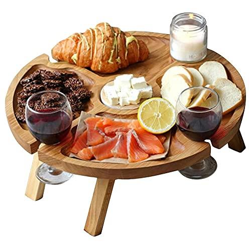 Mesa de picnic para vino al aire libre - Soporte para botellas...